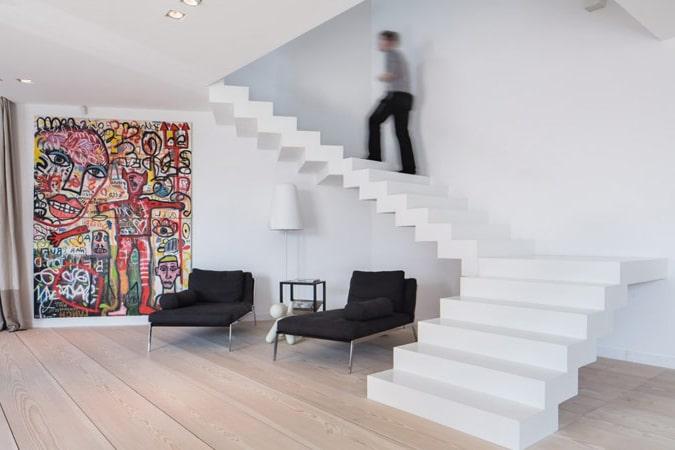 Escalier design r alisations conseils de prix - Escalier milieu de piece ...
